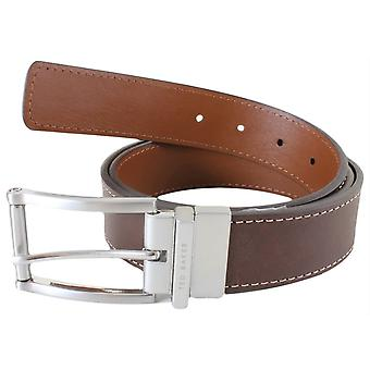Ted Baker Bream Casual Reversible Belt - Chocolate/Tan