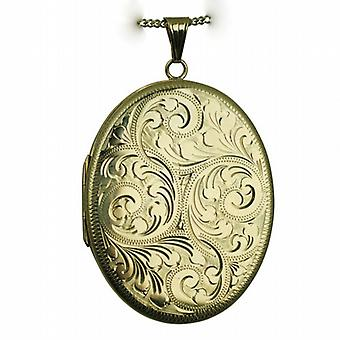 9ct Gold 45x36mm hand engraved flat oval Locket with a curb Chain 16 inches Only Suitable for Children