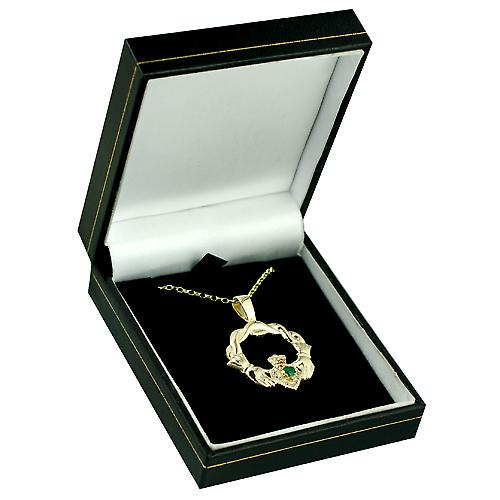 9ct Gold 27x30mm Claddagh Pendant set with Green Agate and CZ's with a belcher chain