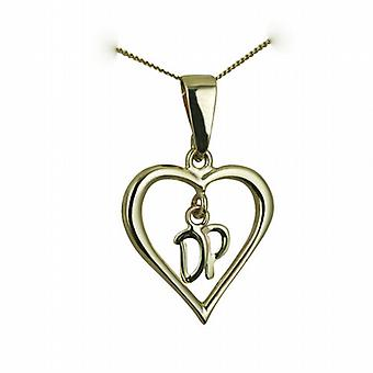 9ct Gold 18x18mm heart Pendant with hanging Initials DP Pendant and bail on a curb Chain 16 inches Only Suitable for Children