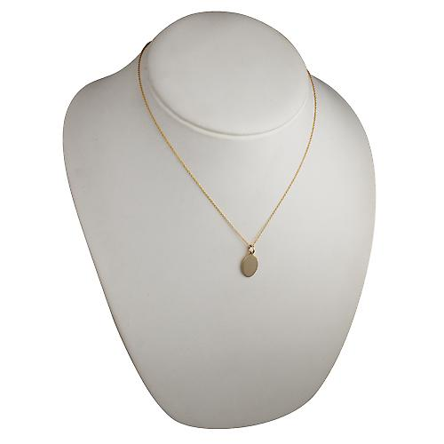 9ct Gold 16x11mm plain oval Disc with a cable Chain 18 inches