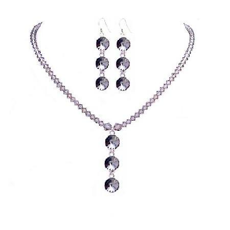 Black Diamond Swarovski Round Crystal 3 Beads Pendant Earring Necklace