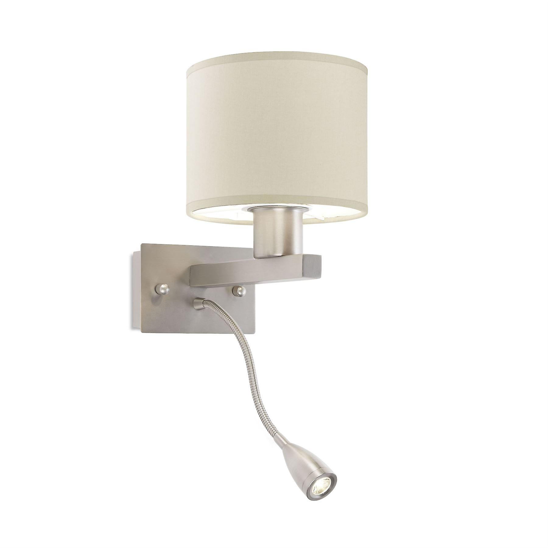 Torino Satin Nickel Wall lumière With LED Reading Lamp - Leds-C4 05-4695-81-82