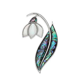 Eternal Collection Mother Of Pearl Snowdrop And Paua Shell Silver Tone Brooch
