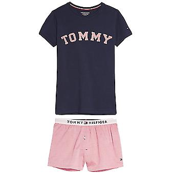 Tommy Hilfiger Girls Pure Cotton Short Pyjama Set, Navy Blazer / Rose Tan, Large