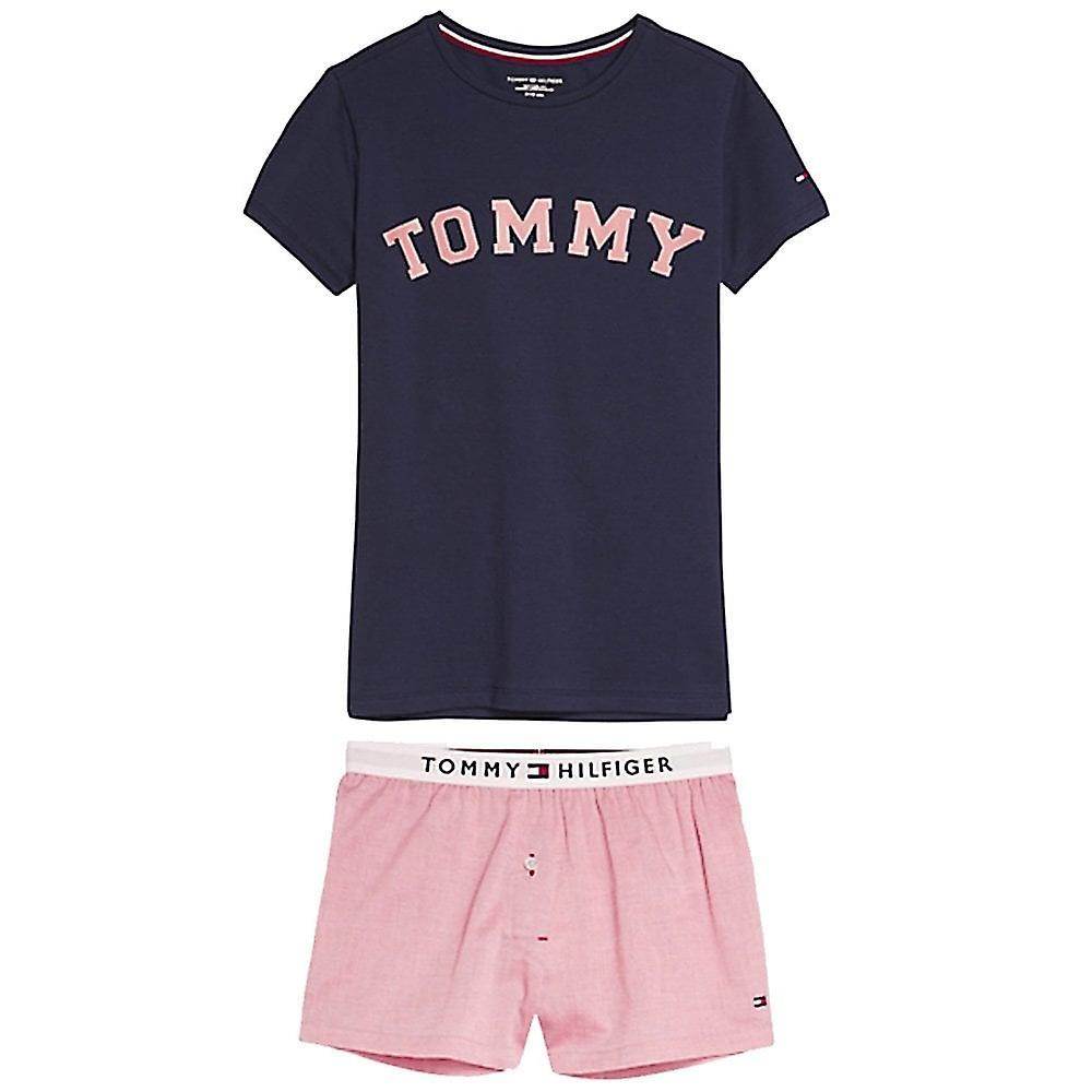Tommy Hilfiger Girls Pure Cotton Short Pyjama Set, Navy Blazer / Rose Tan, XX-Large
