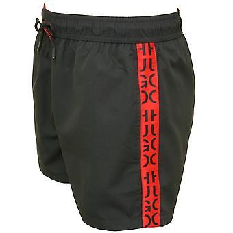 ヒューゴ マスティク島ロゴ テープ水泳パンツ、ブラック/レッド