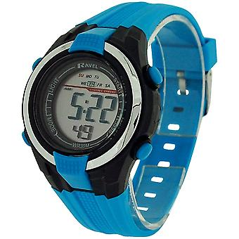 Ravel Kids Alarm Stop Watch Digital LCD Blue and Black PU Strap Watch RDB-16