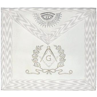 Hand Embroidered Masonic Master Mason Apron White