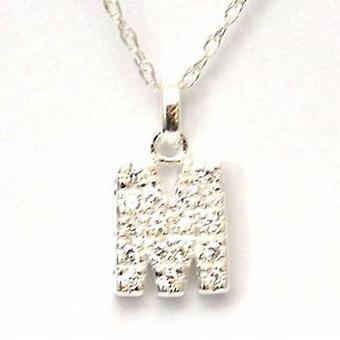 TOC Sterling Silver Clear Rhinestone Set Initial 'M' Pendant Necklace 18