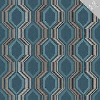 Arthouse Hexagon Geometric Wallpaper Blue Teal Gold Metallic Shimmer Paste Wall
