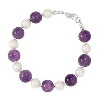Eternal Collection Duet Amethyst Gemstone And Shell Pearl Silver Tone Bracelet
