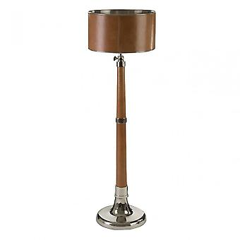 Premier Home Churchill Extendable Floor Lamp, Aluminium, Brass, Leather, Iron, Steel, Brown