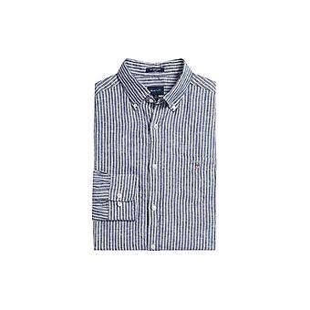 Gant The Linen Banker Regular Fit Button Down Collar Shirt Persian Blue