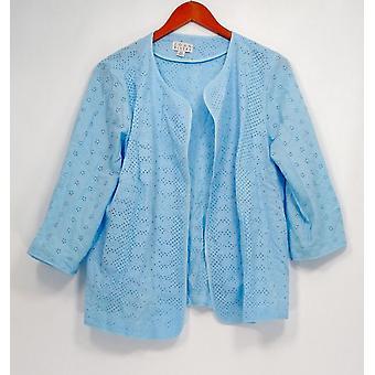Joan Rivers Classics Coll. Plus Blazer Pattern Eyelet Jacket Blue A291168