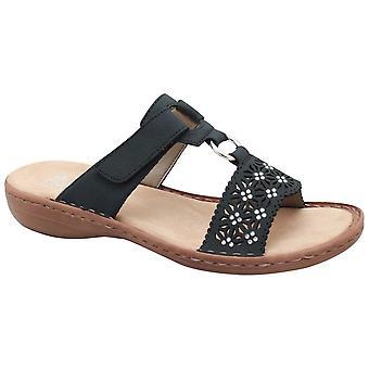 Rieker Slip On Blue Sandal With Adjustable Strap