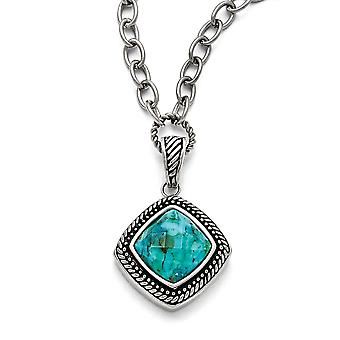 Stainless Steel Polished Antiqued Simulated Turquoise Necklace - 18 Inch