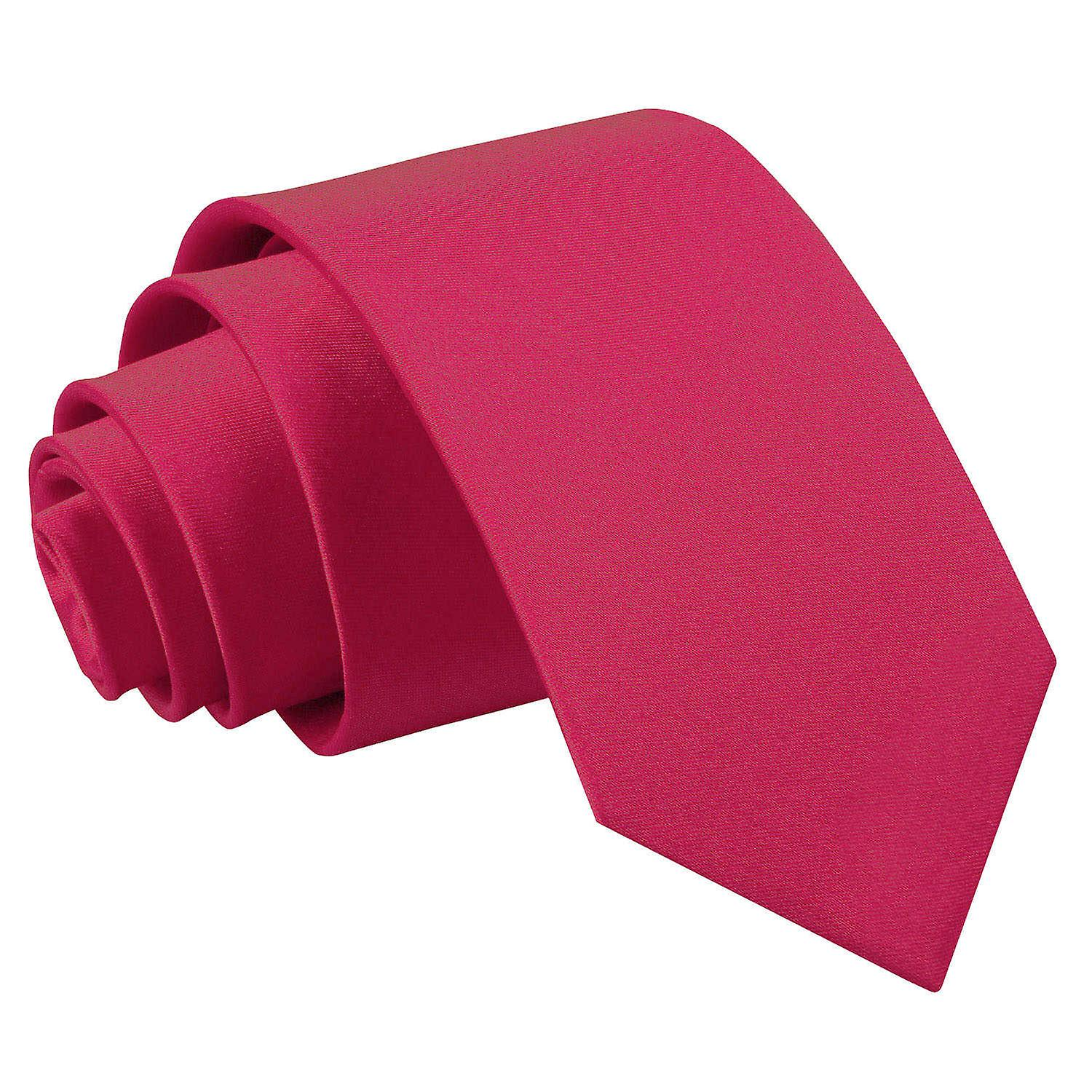 Plain Crimson Red Satin Slim Tie