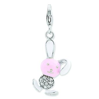 Sterling Silver Enameled 3-d Bunny With Lobster Clasp Charm - 3.0 Grams