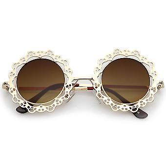 Damen offen Metall Ausschnitt Spitze flache Linse Runde Sonnenbrille 44mm