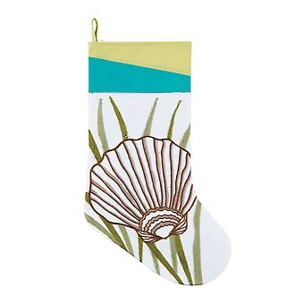 Coastal Rice Stitch Scallop Seashell in Seaweed White Christmas Holiday Stocking