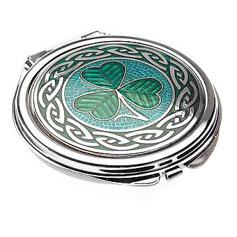 Fine Glass Enamelled Rhodium Plated Shamrock Celtic Compact Mirror