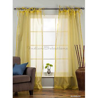 Olive Gold Tie Top  Sheer Tissue  Curtain / Drape / Panel  - 84