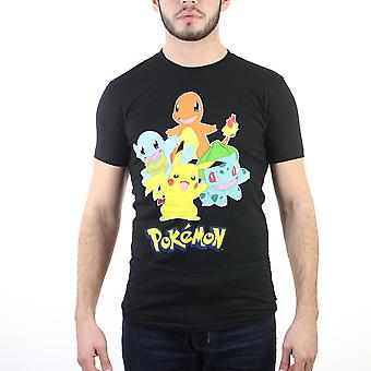 Pokemon Kanto startere mænds sort T-shirt