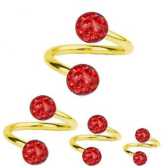 Spiral Twist Piercing Gold Plated Titanium 1,6 mm, Multi Crystal Ball Red | 8-12 mm