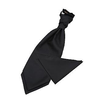 Black Greek Key Wedding Cravat & Pocket Square Set