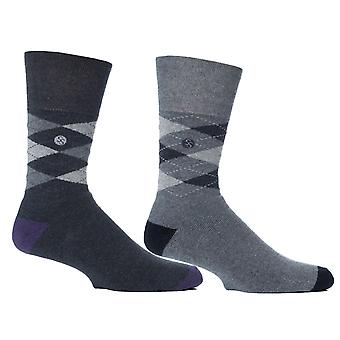 Mens Grey Argyle Cushion Foot Honeycombe Top Gentle Grip Sock By Sock Shop 4pk