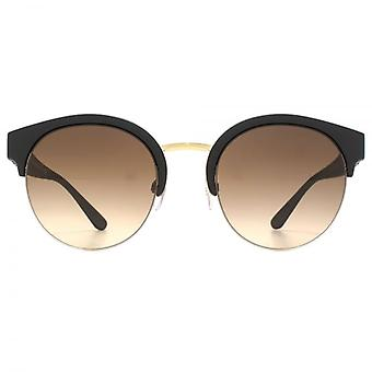 Burberry Half Rim Round Sunglasses In Matte Black Pale Gold