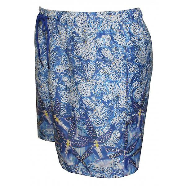 Just Cavalli Graphic Floral Photo Print Swim Shorts, Blue