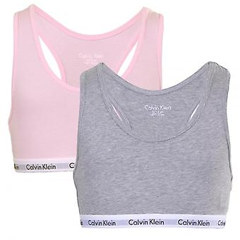 Calvin Klein Girls 2 Pack Modern Cotton Bralette, Pink/Grey, Medium