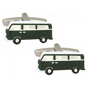 Zennor Camper Van Cufflinks - Green