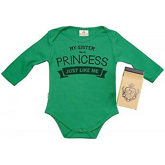 Spoilt Rotten My Sister's A Princess Baby Grow 100% Organic In Milk Carton
