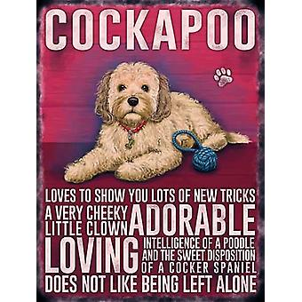 Large Wall Plaque 400mm x 300mm - Cream Cockapoo