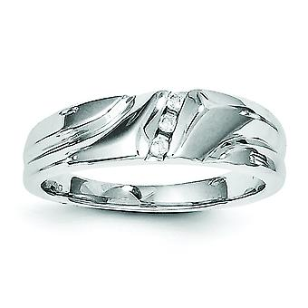 Sterling Silver Polished Rhodium-plated Rhodium Plated Diamond Mens Ring - Ring Size: 9 to 11