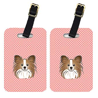 Carolines Treasures  BB1248BT Pair of Checkerboard Pink Papillon Luggage Tags