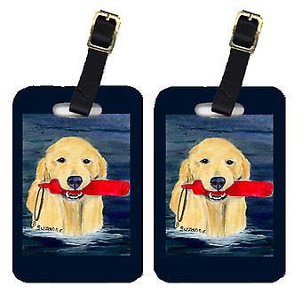 Carolines Treasures  SS8868BT Pair of 2 Golden Retriever Luggage Tags