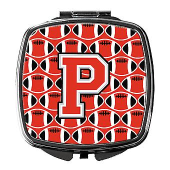 Letter P Football Scarlet and Grey Compact Mirror