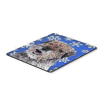 Border Terrier Blue Snowflake Winter Mouse Pad, Hot Pad or Trivet
