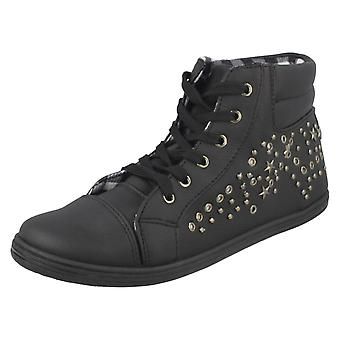 Ladies Spot On Studded Lace Up Ankle Boots - Black Synthetic - UK Size 5 - EU Size 38 - US Size 7
