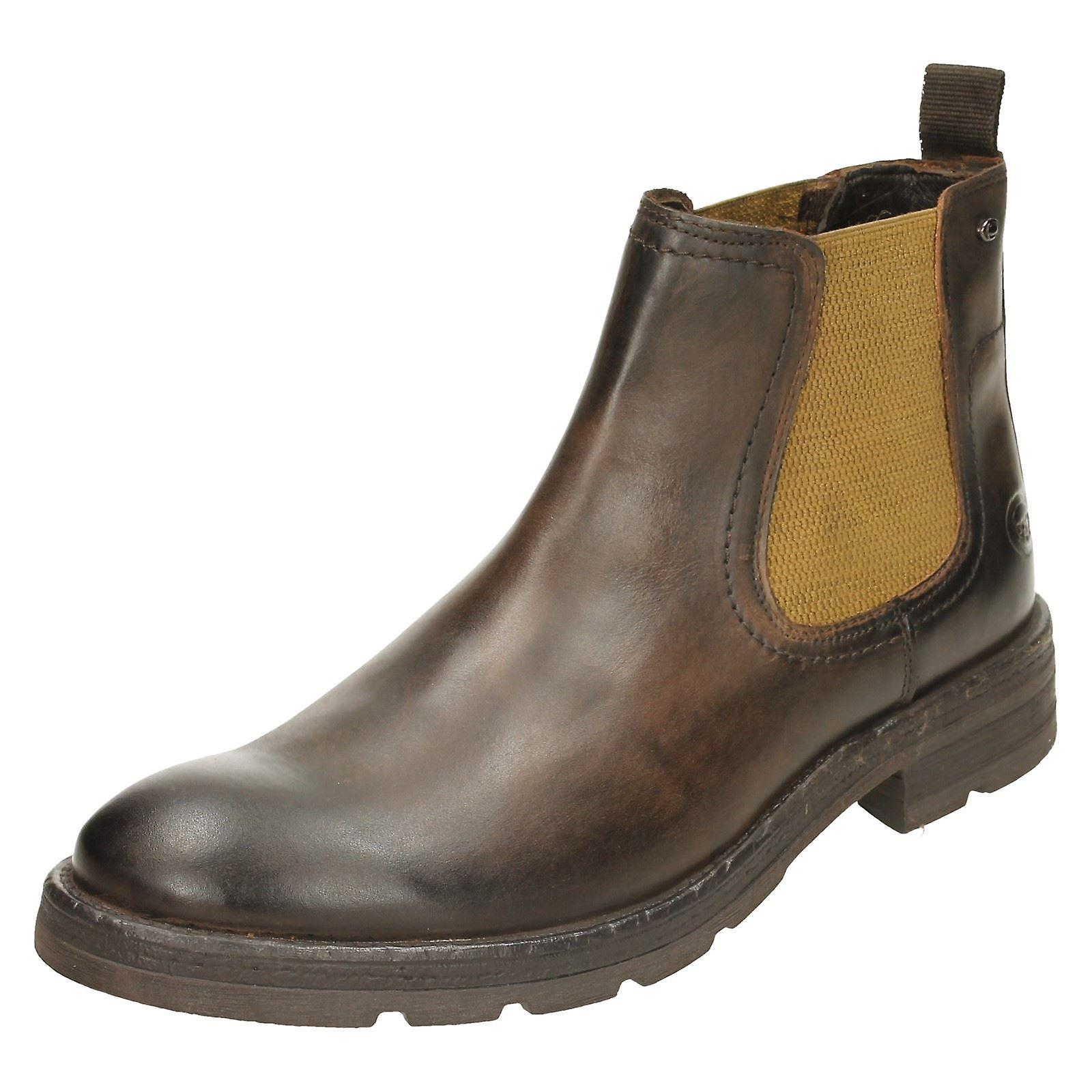 Mens Base Londra Chelsea Boots Challenger - lavato in pelle marrone - taglia UK 6 - taglia 39.5 - US taglia 7