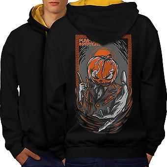 Pumpkin Invitation Horror Men Black (Gold Hood) Contrast Hoodie Back | Wellcoda