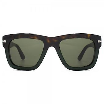 Valentino Chunky Square Sunglasses In Dark Havana Green