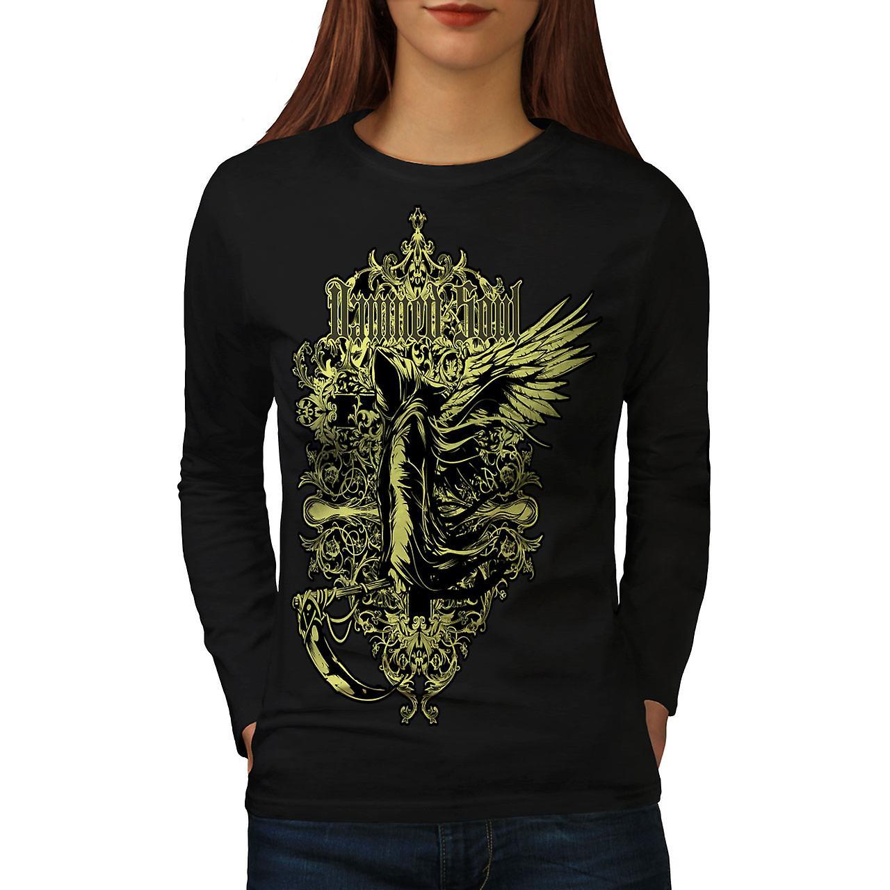 Damned Soul Dead Vintage Women Black Long Sleeve T-shirt | Wellcoda