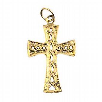 9ct Złota 24x17mm węzeł tłoczone Krzyż celtycki