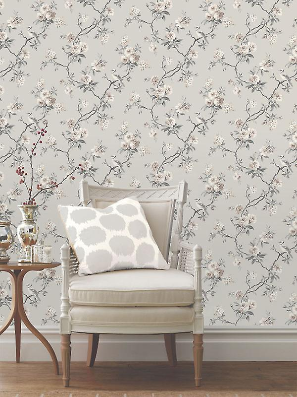 Fine Decor Chinoiserie Floral Flower Birds Grey Heavyweight Wallpaper