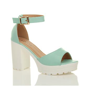 Ajvani womens high heel platform cleated ankle strap peep toe shoes sandals